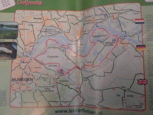 kaart van de Ooijroute in de Ooijpolder