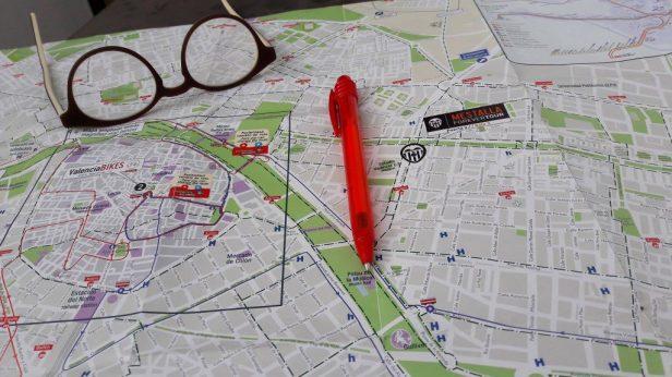 Fietsen in Valencia, plattegrond, map
