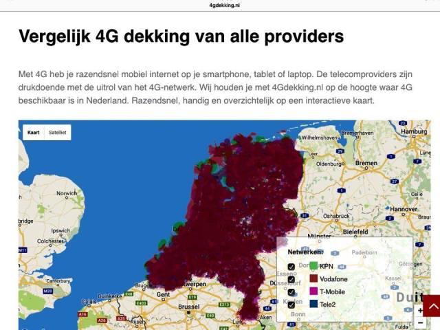 Op dedekkingskaart kun zien hoe goed het bereik verschillende providers is in jouw omgeving