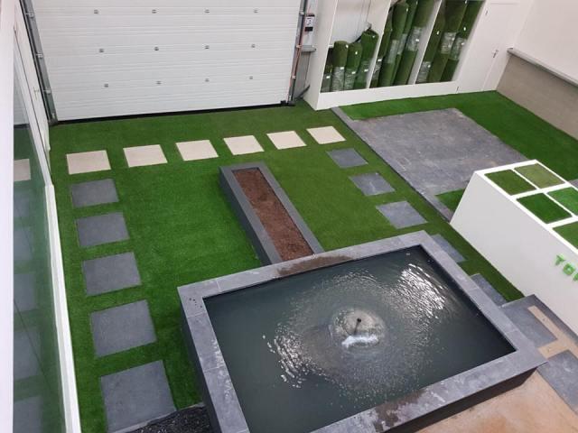 Modeltuin in het Limburgse Haelen. Foto Top kunstgras