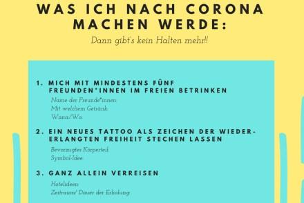 Eine NAch-Corona-Liste mit lustigen Ideen für nach den Lockdown