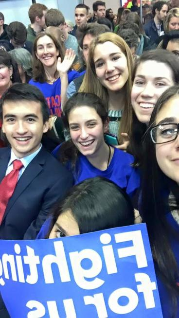Globe editors Jimmy Quinn, Hannah Lachow, Katherine Heany, Ali Steinberg, and Liv Golden covering the presidential primary in New Hampshire on Mon. Feb.8