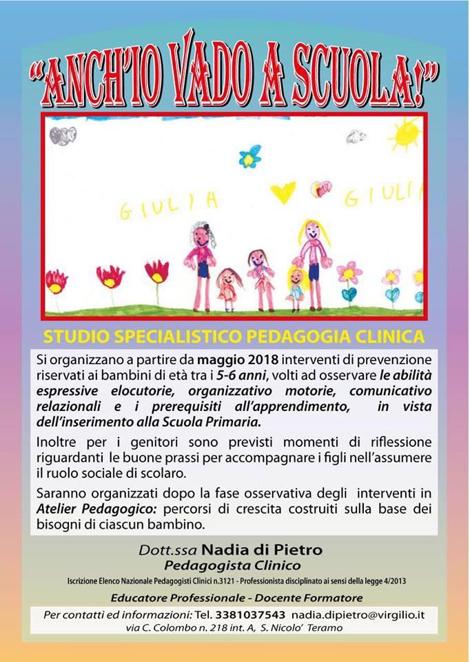 """""""Anch'io vado a scuola"""" incontri per bambini che entrano a scuola a cura di Nadia Di Pietro"""