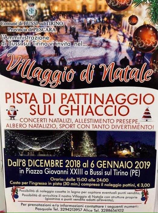 Piste di pattinaggio su ghiaccio in Abruzzo Natale 2018 - Bussi sul Tirino - Pescara