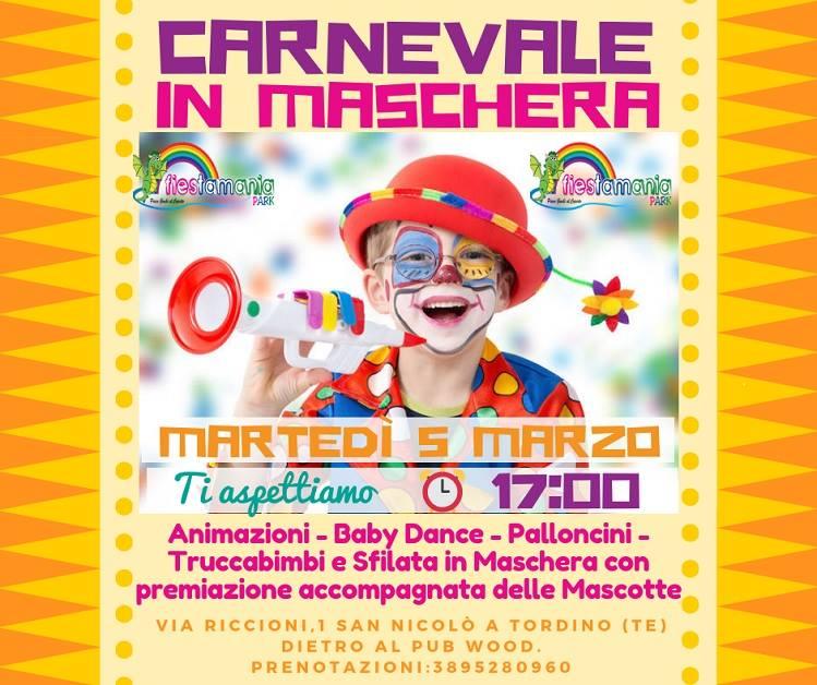Carnevale in maschera a Fiestamania Park Teramo