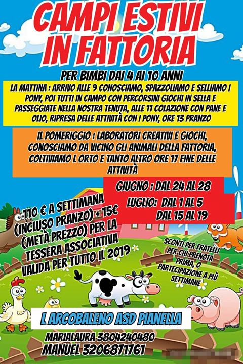 Campi Estivi in fattoria L'Arcobaleno ASD Pianella di Pianella di Pescara