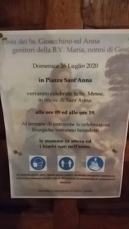Sante Messe e benedizioni in onore di Sant'Anna protettrice delle madri e delle donne incinte