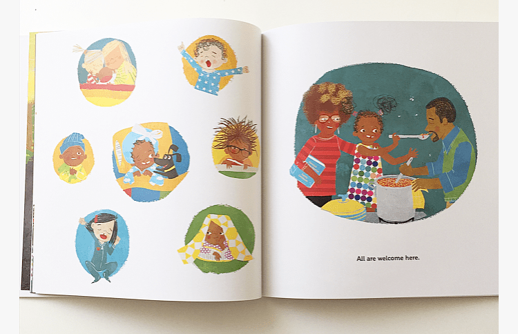 Pages from the book All Are welcome showing a diverse family.