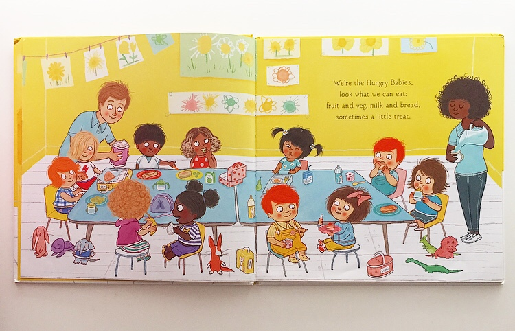 Extract from Hungry babies showing diverse characters eating at a table.