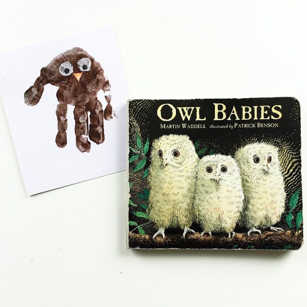 Owl Babies cover book shot with hand print owl craft mammafilz.com