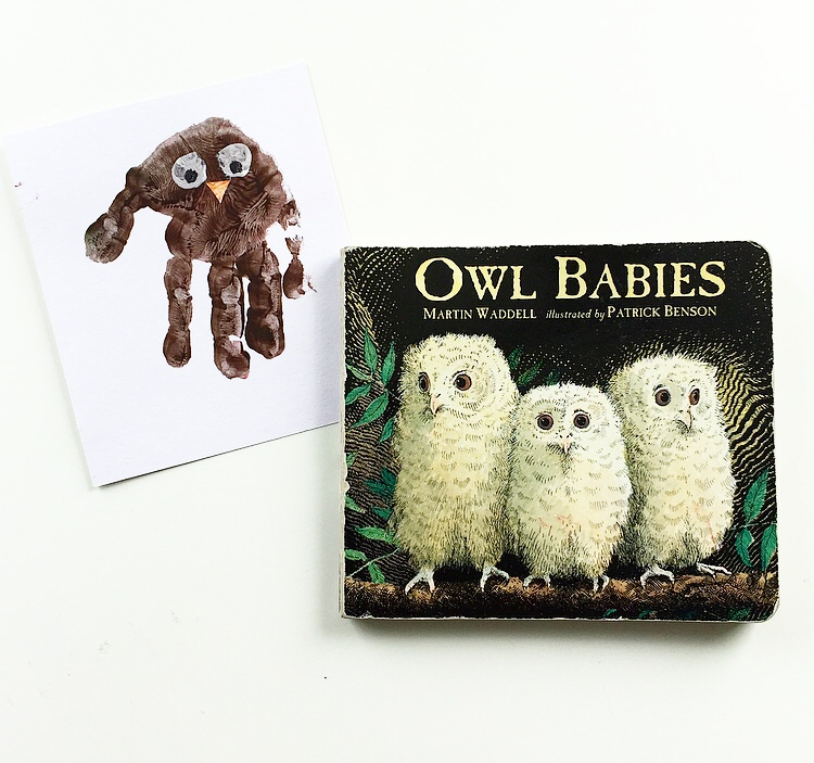 Owl Babies cover book shot with hand print owl craft mammafilz.com