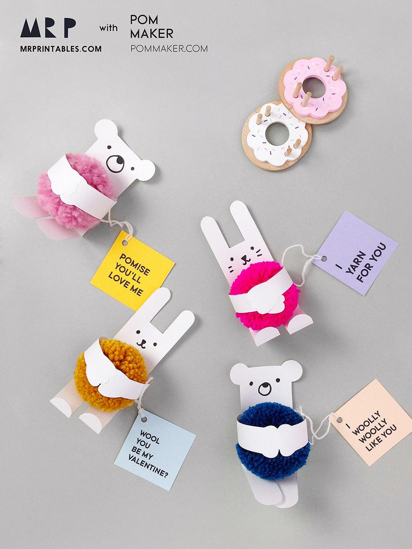 Mrprintables Pom Maker Pompom Animal Valentines Cards For