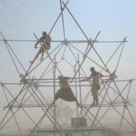 Toby Burgess, Tim Strnadt and Luka Kreze building the scaffolding.