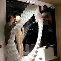 Kate Rider and Ed Grainge installing the Karen Millen Xmas Window Display ©Mamou-Mani