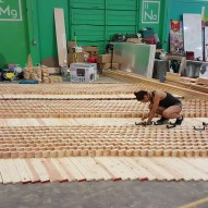 Tangential Dreams at Burning Man 2016 - Assembling the modules at the Generator space in Reno prior to the desert ©Mamou-Mani