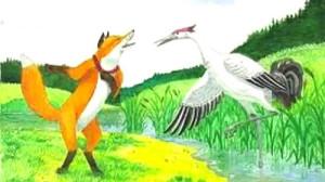 Пошла звать лиса к себе в гости журавля иллюстрация