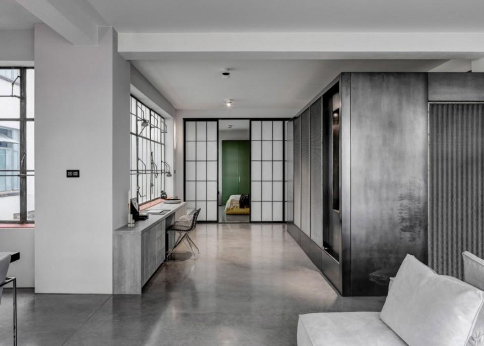 Londons appartement brengt minimalisme en industrile