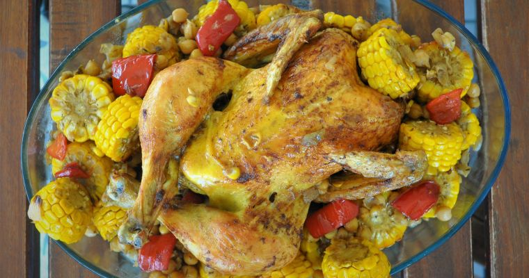 Roast chicken with corn and chickpeas