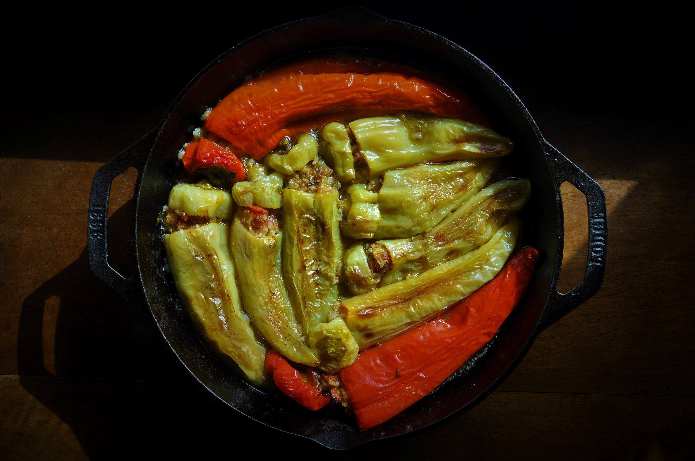 Stuffed casserole peppers