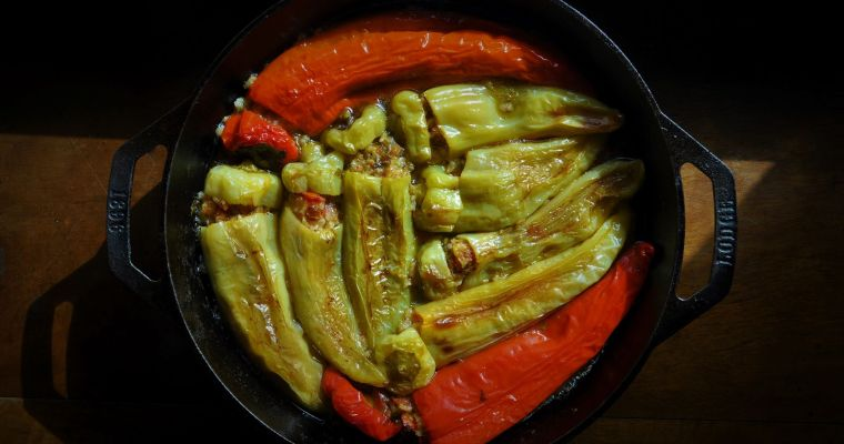 Stuffed casserole peppers