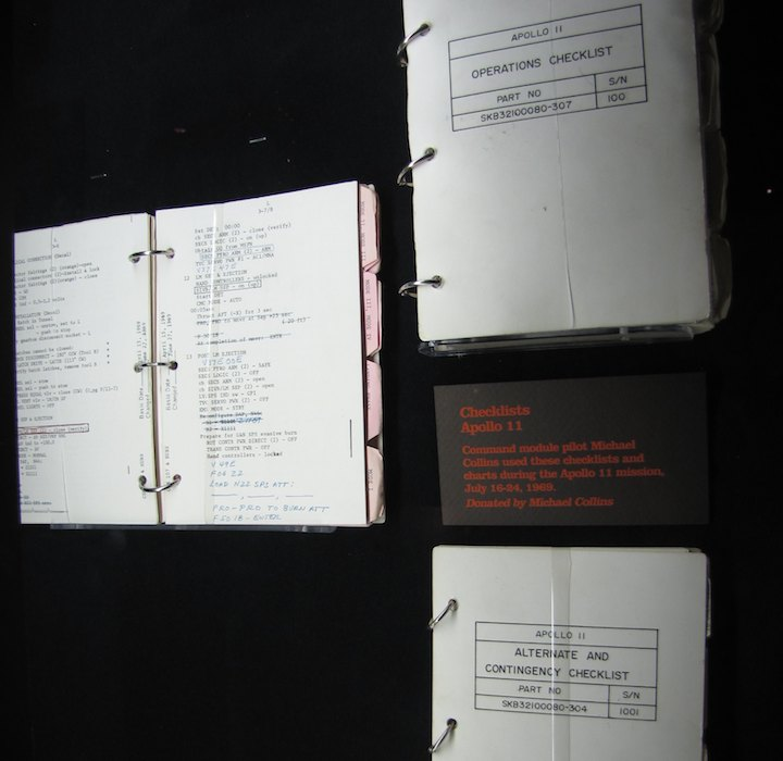 photo of NASA checklists for the Apollo 11 mission