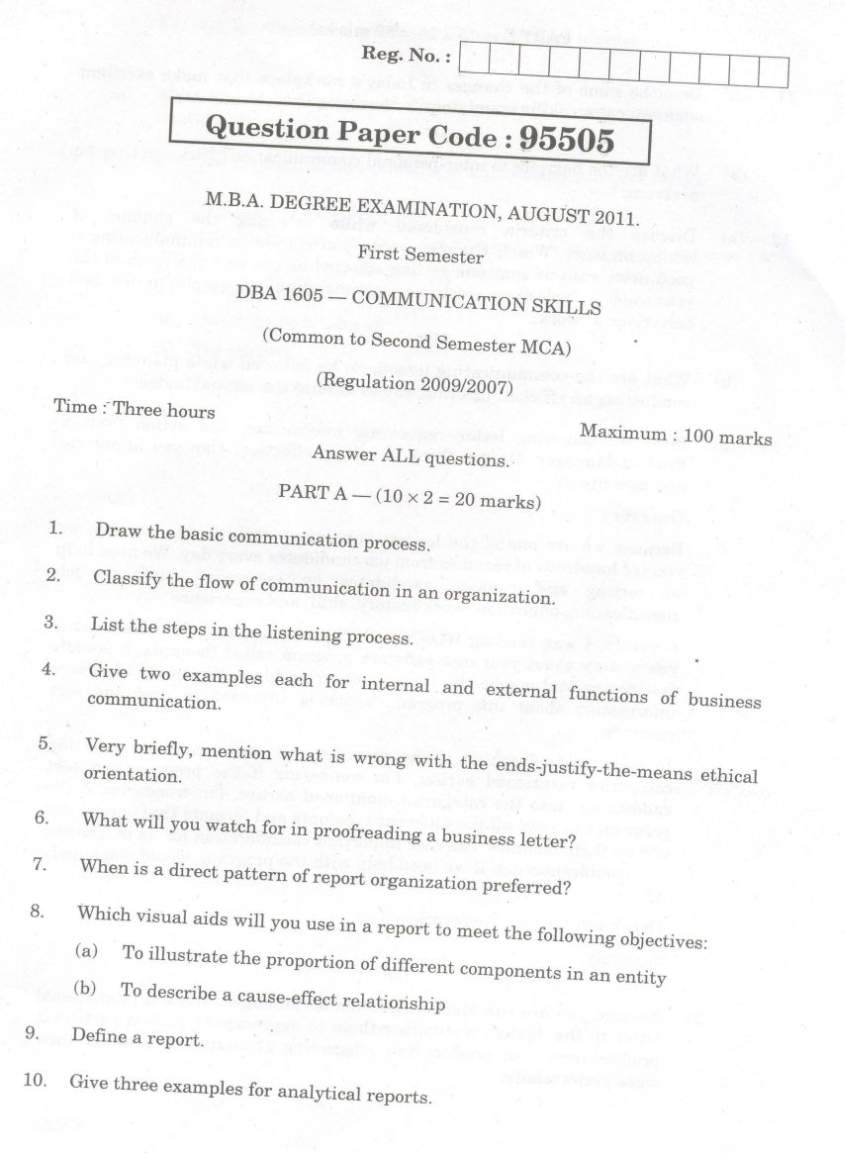 Anna University MBA Communication Skills Question Paper