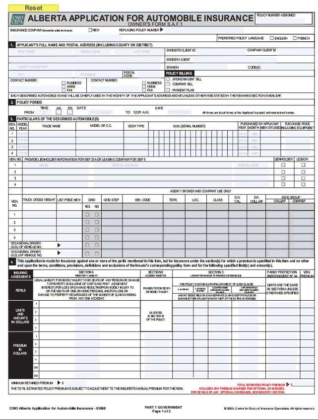 Automobile Insurance Automobile Insurance Application Form