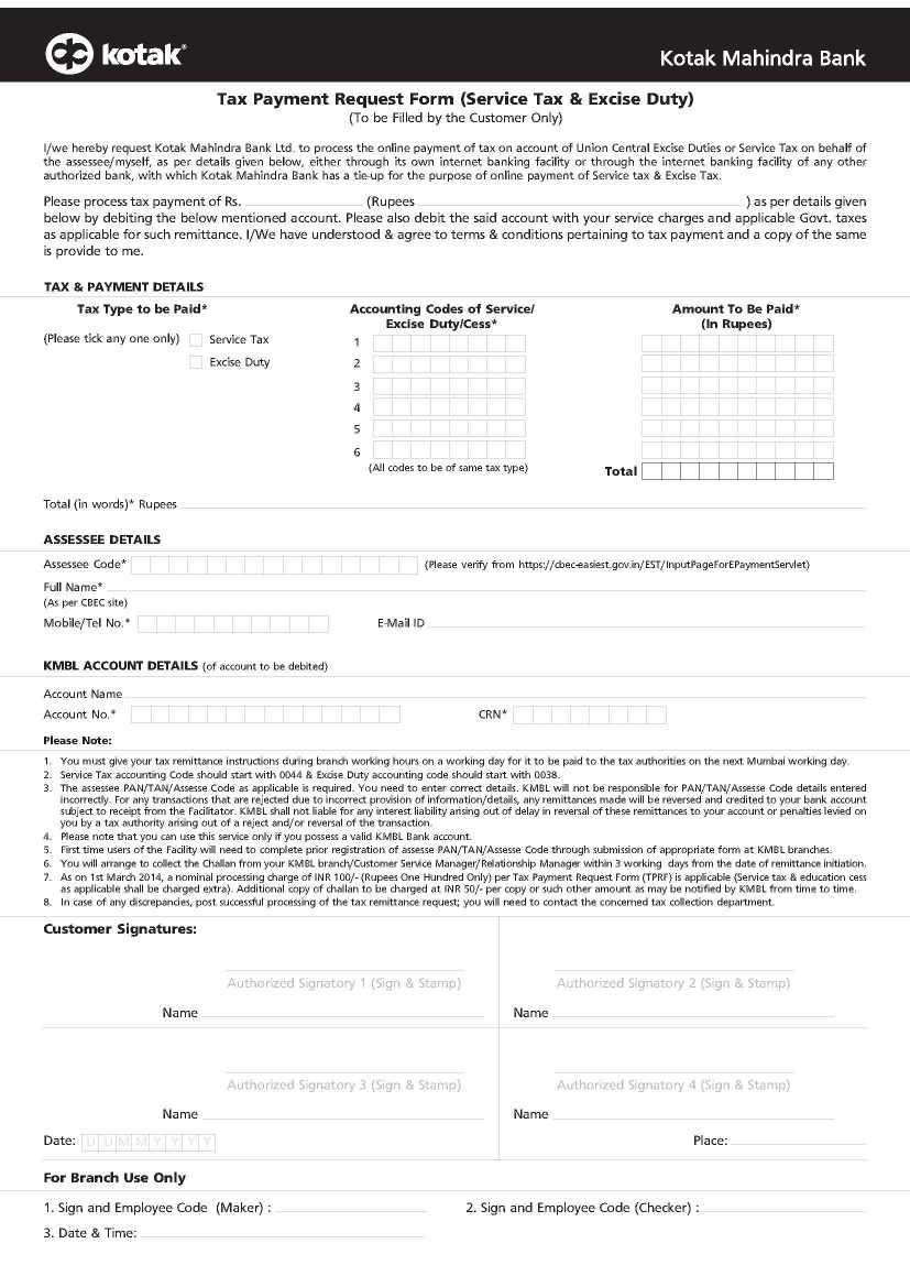 Kotak Mahindra Bank Service Tax Payment 2020 2021 Student Forum