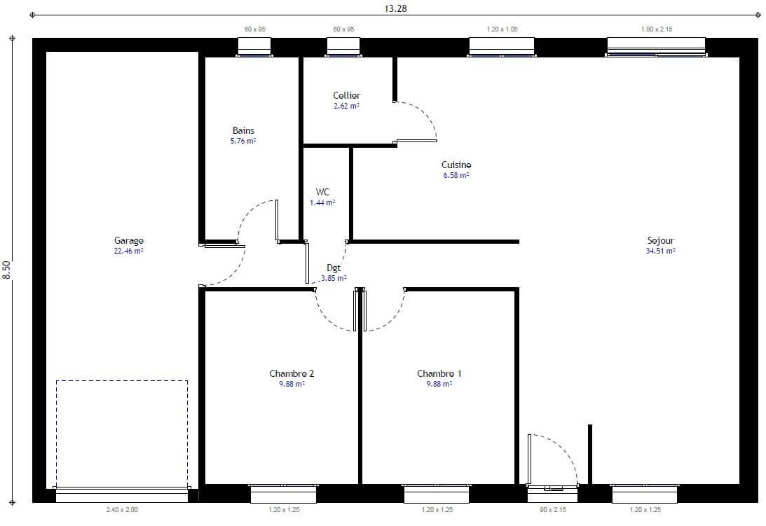 Plan Maison Individuelle 2 Chambres 103 Gi Habitat Concept