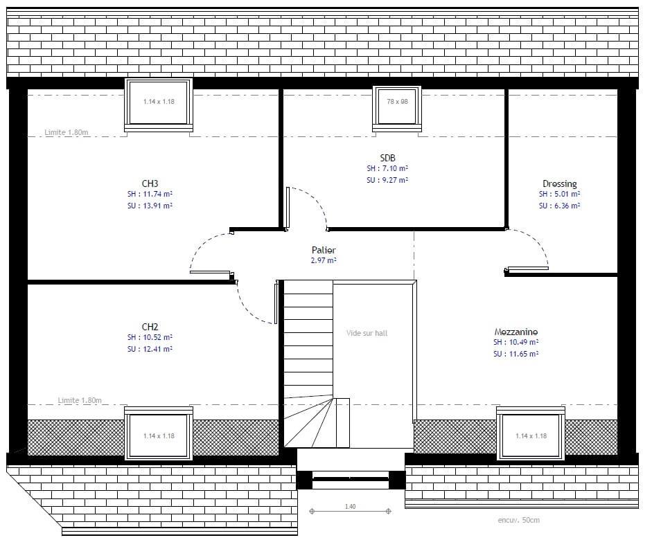 Plan Maison Individuelle 3 Chambres 74b Habitat Concept