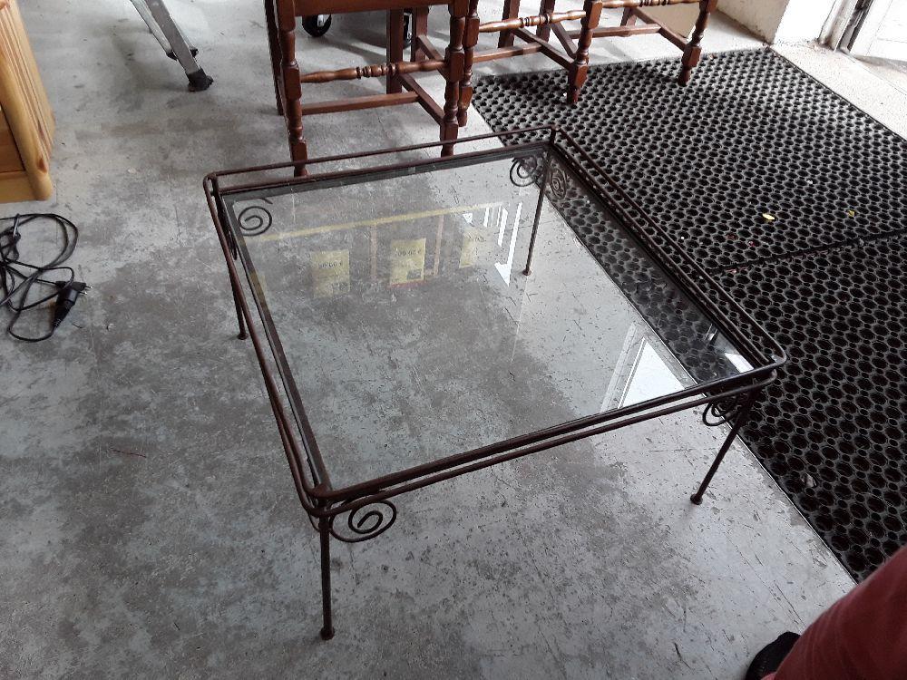 table basse fer forge et verre occasion