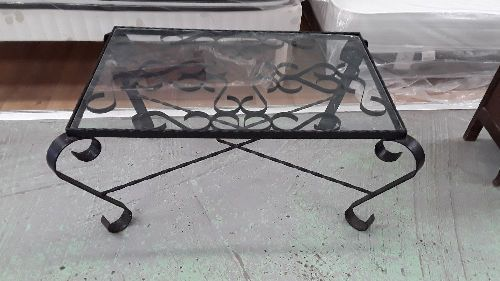 table basse fer forge plateau verre