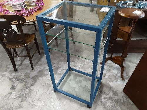 meuble haut metal bleu 4 verres