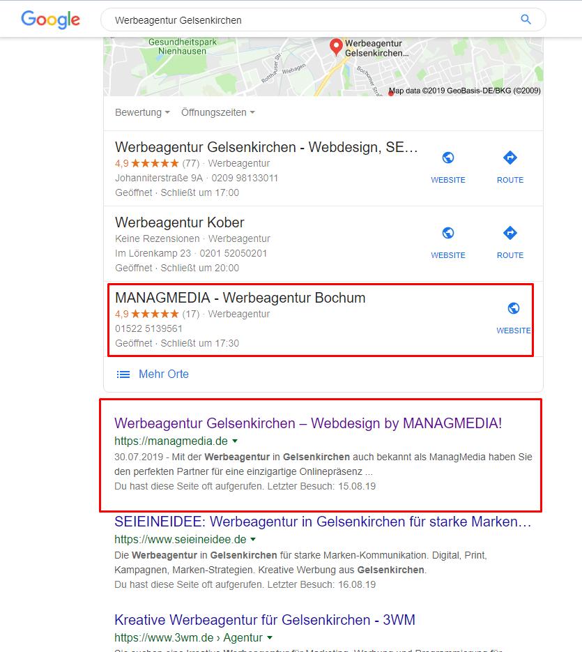 MANAGMEDIA - Werbeagentur Gelsenkirchen Google Suche
