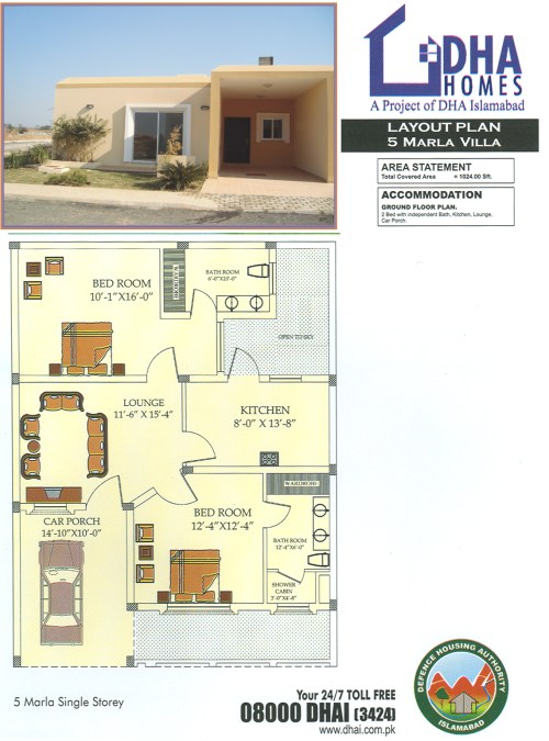 5 Marla DHA Home Floor Plan