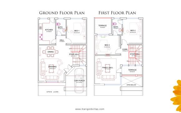 Marigold Villas Floor Plan 5 Marla