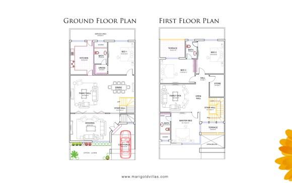 Marigold Villas Floor Plan 8 Marla