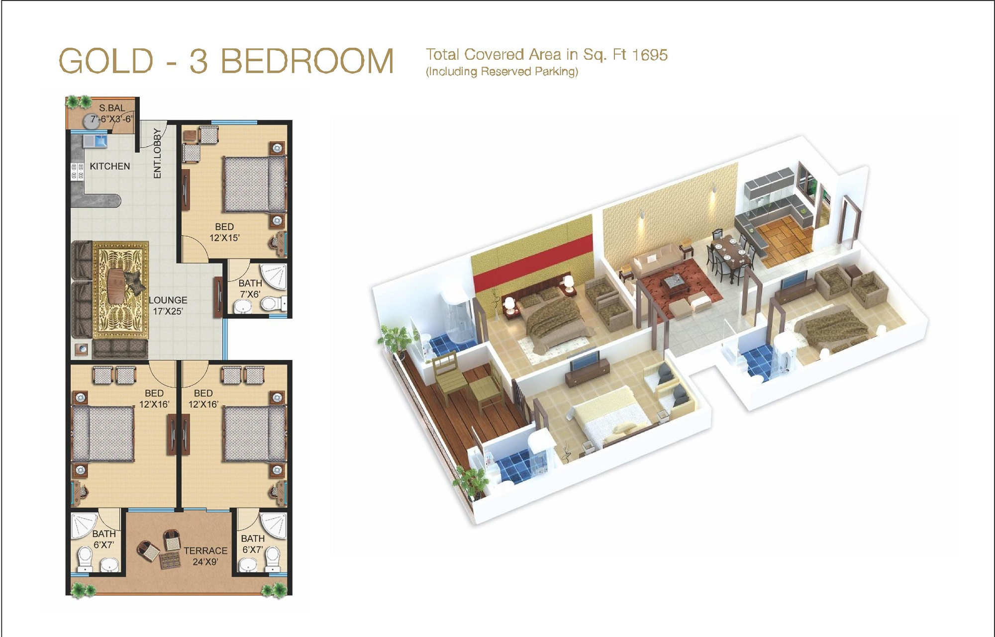 Galleria Gold 3 Bedroom Layout Plan