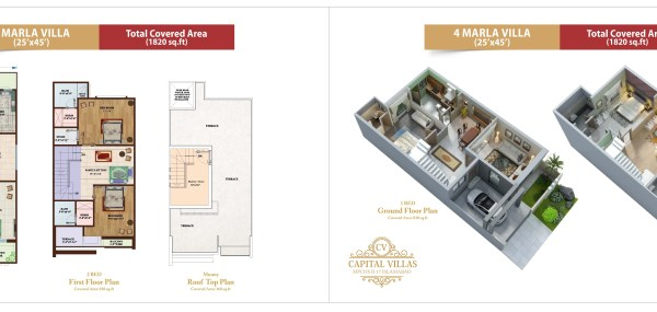 Capital Villas Floor and Layout Plan 4 Marla
