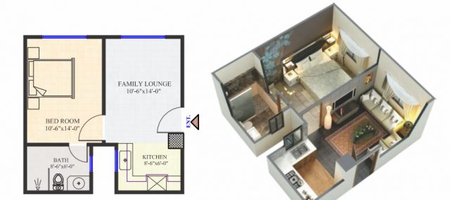 1 Bed Standard Apartment Layout Plan