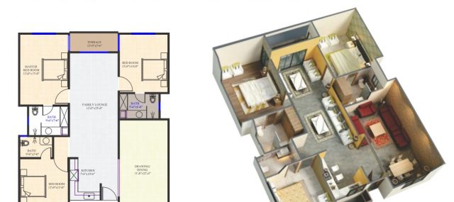 3 Bed Luxury Apartment Layout Plan