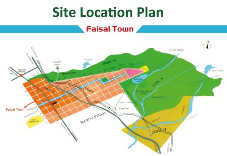 Faisal Town Location Map
