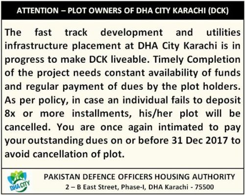 DHA City Karachi Notice