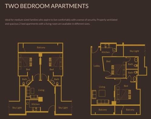 2 Bedroom Apartments Layout Plan - Zarkon Heights Islamabad