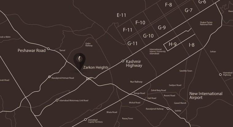 Zarkon Heights Islamabad Location Map