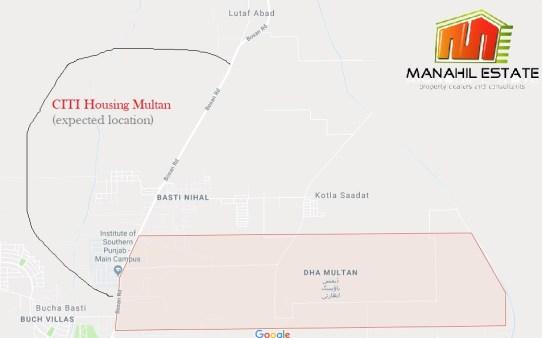 CITI Housing Multan Location Map