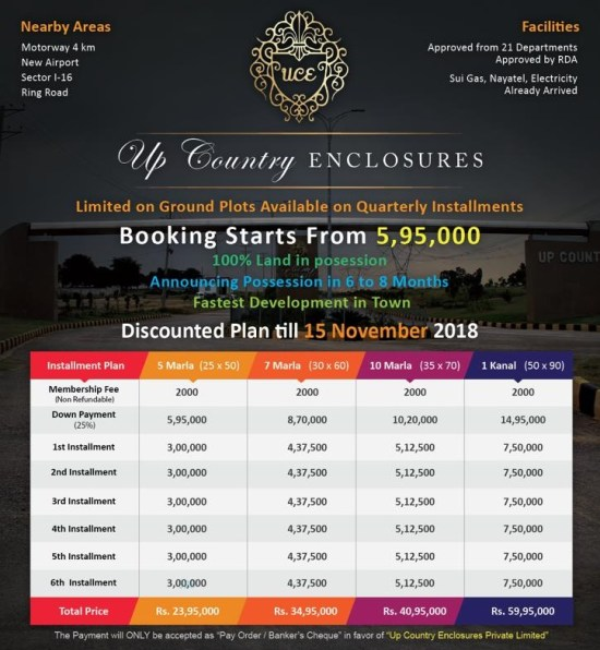 Up Country Enclosures Islamabad Payment Plan