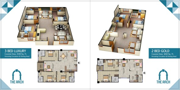 The Arch 1 Bed 2 Bed Layout Plans