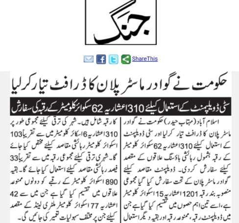 Gwadar Master Plan Draft Prepared