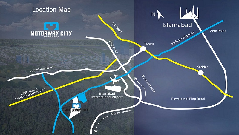 Motorway City Executive Block Islamabad Location Map